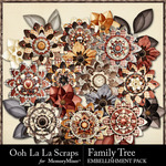 Family Tree Layered Flowers Pack-$1.99 (Ooh La La Scraps)