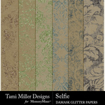 Selfie TM Damask Glitter Papers-$1.99 (Tami Miller)