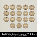 Grown With Love Burlap Bits Pack-$2.99 (Tami Miller)