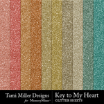 Key to my heart glitter sheets small