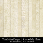 Key to My Heart Neutral Papers-$3.99 (Tami Miller)