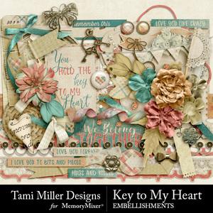 Key to my heart embellishments medium