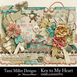Key to my heart embellishments small