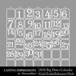 2018 Big Dates Calendar Grids Freebie-$0.00 (Lasting Impressions)