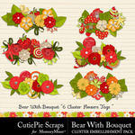 Bear With Bouquet Cluster Borders Pack-$2.99 (CutiePie Scraps)