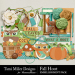 Fall hoot embellishment pack small