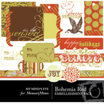 Bohemia Christmas Red Embellishment Pack-$3.49 (My Minds Eye)
