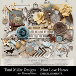 Must Love Horses Embellishments-$3.99 (Tami Miller)