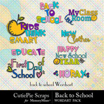 Back to School CPS WordArt Pack-$1.80 (CutiePie Scraps)