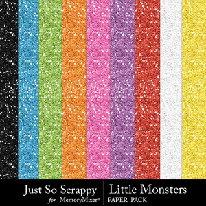 Little monsters glitter papers medium
