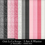 I Am A Warrior Glitter Paper Pack-$1.99 (Ooh La La Scraps)