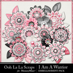 I Am A Warrior Layered Flowers Pack-$1.99 (Ooh La La Scraps)