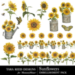 Sunflowers Embellishment Pack-$2.80 (Tara Reed Designs)