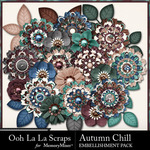 Autumn Chill Layered Flowers Pack-$1.99 (Ooh La La Scraps)