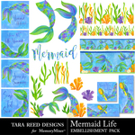 Mermaid Life Embellishments-$3.99 (Tara Reed Designs)