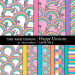Happy Unicorn Paper Pack-$3.99 (Tara Reed Designs)