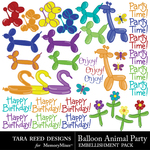Balloon Animal Party Embellishments-$3.99 (Tara Reed Designs)