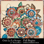 Fall Begins Layered Flowers Pack-$1.99 (Ooh La La Scraps)