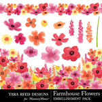 Farmhouse Flowers Embellishments-$3.99 (Tara Reed Designs)