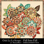 Fall Into Fall Layered Flowers Pack-$1.99 (Ooh La La Scraps)