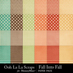 Fall Into Fall Pattern Papers-$1.99 (Ooh La La Scraps)
