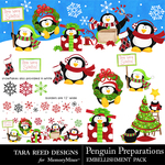 Penguin Preparations Embellishments-$3.99 (Tara Reed Designs)