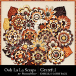 Grateful Layered Flowers Pack-$1.99 (Ooh La La Scraps)