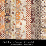Grateful Worn Wood Paper Pack-$1.99 (Ooh La La Scraps)