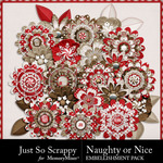 Naughty Or Nice Layered Flowers Pack-$1.99 (Just So Scrappy)