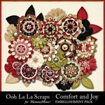 Comfort and Joy Layered Flowers Pack-$1.99 (Ooh La La Scraps)