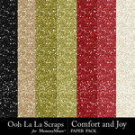 Comfort and Joy Glitter Paper Pack-$1.99 (Ooh La La Scraps)