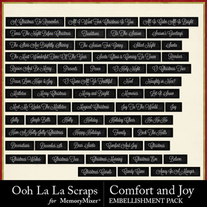 Comfort and joy word labels medium