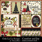 Comfort and Joy 3D Cards Pack-$1.00 (Ooh La La Scraps)