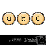 Alphabet Brads Yellow Embellishment Pack-$1.00 (Karen Lewis)