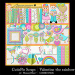 Valentine the Rainbow Combo Pack-$4.90 (CutiePie Scraps)