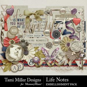 Life notes embellishments medium