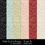 Love Is OLL Glitter Sheets Pack-$1.99 (Ooh La La Scraps)