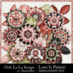 Love Is Patient Layered Flowers Pack-$1.99 (Ooh La La Scraps)
