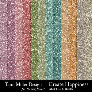Create happiness glitter sheets medium