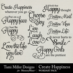 Create happiness wordart small