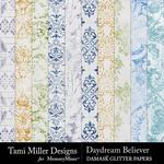 Daydream Believer Damask Glitter Papers-$2.99 (Tami Miller)