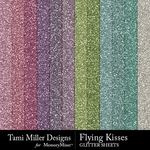 Flying kisses glitter sheets small