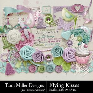 Flying kisses embellishments medium