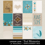 Teal Memories Journal Cards Pack-$1.99 (Lindsay Jane)