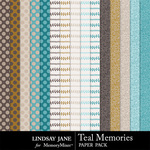 Teal Memories Extra Paper Pack-$1.99 (Lindsay Jane)