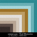 Teal Memories Embossed Paper Pack-$1.99 (Lindsay Jane)