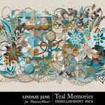 Teal Memories Embellishment Pack-$3.49 (Lindsay Jane)