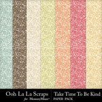 Take Time To Be Kind Glitter Paper Pack-$1.99 (Ooh La La Scraps)