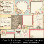 Take Time To Be Kind Pocket Cards Pack-$1.99 (Ooh La La Scraps)