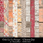 Choose Joy Worn Wood Papers-$1.99 (Ooh La La Scraps)